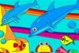 Rosy dažymas delfinai jūroje